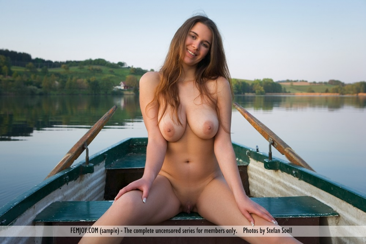 Beautiful Busty Nude Babe On A Boat