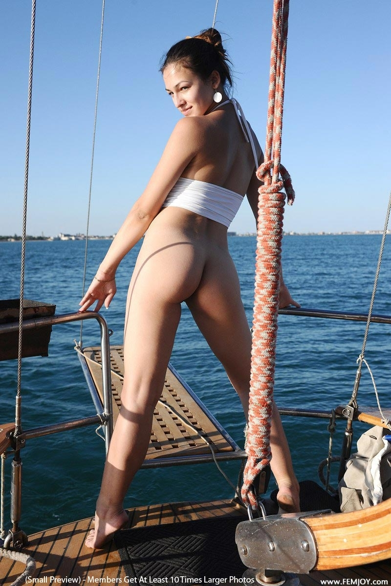 nude babe on boat