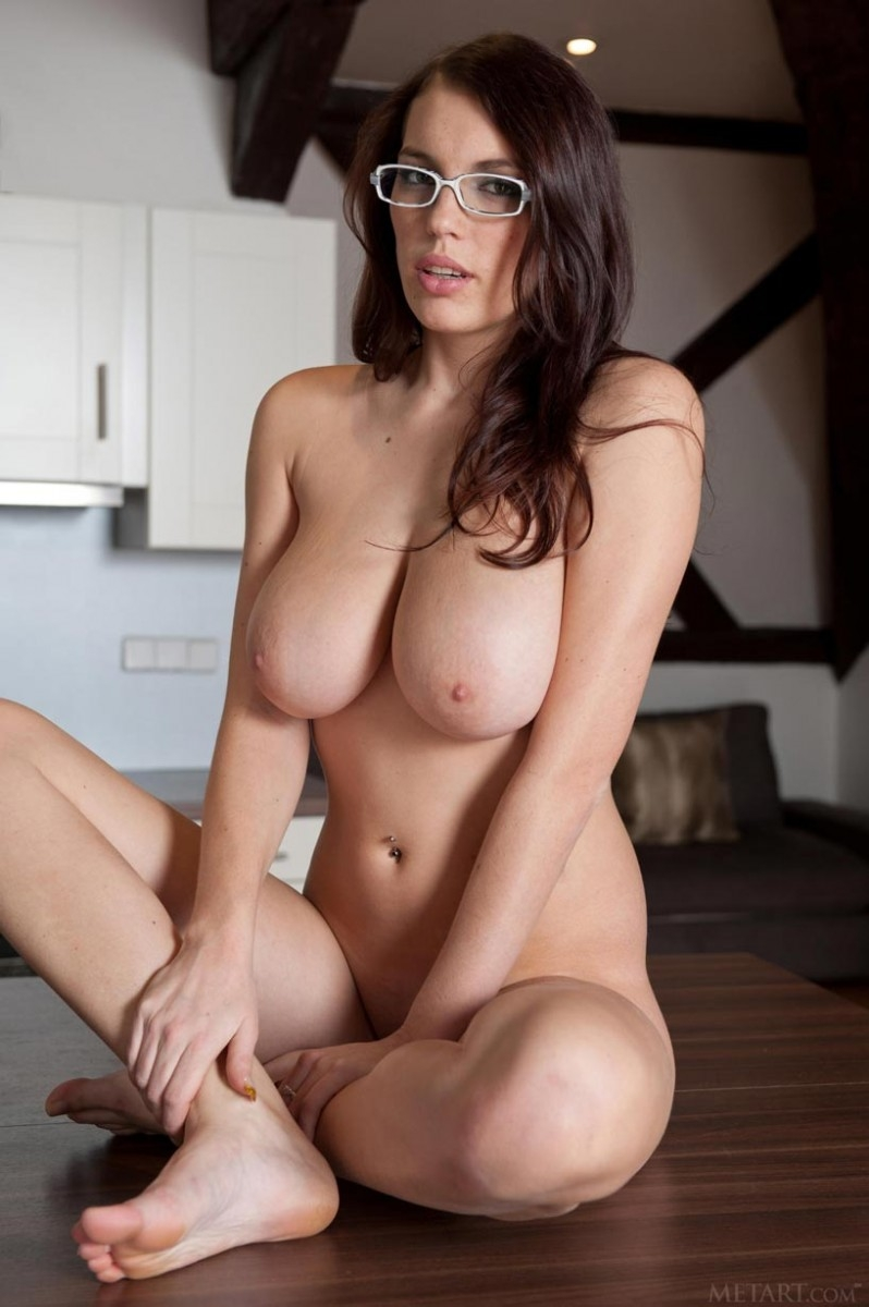 Sexy brunette with glasses