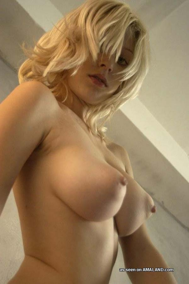 image Blonde with big natural tits gaped by a brutal dildo