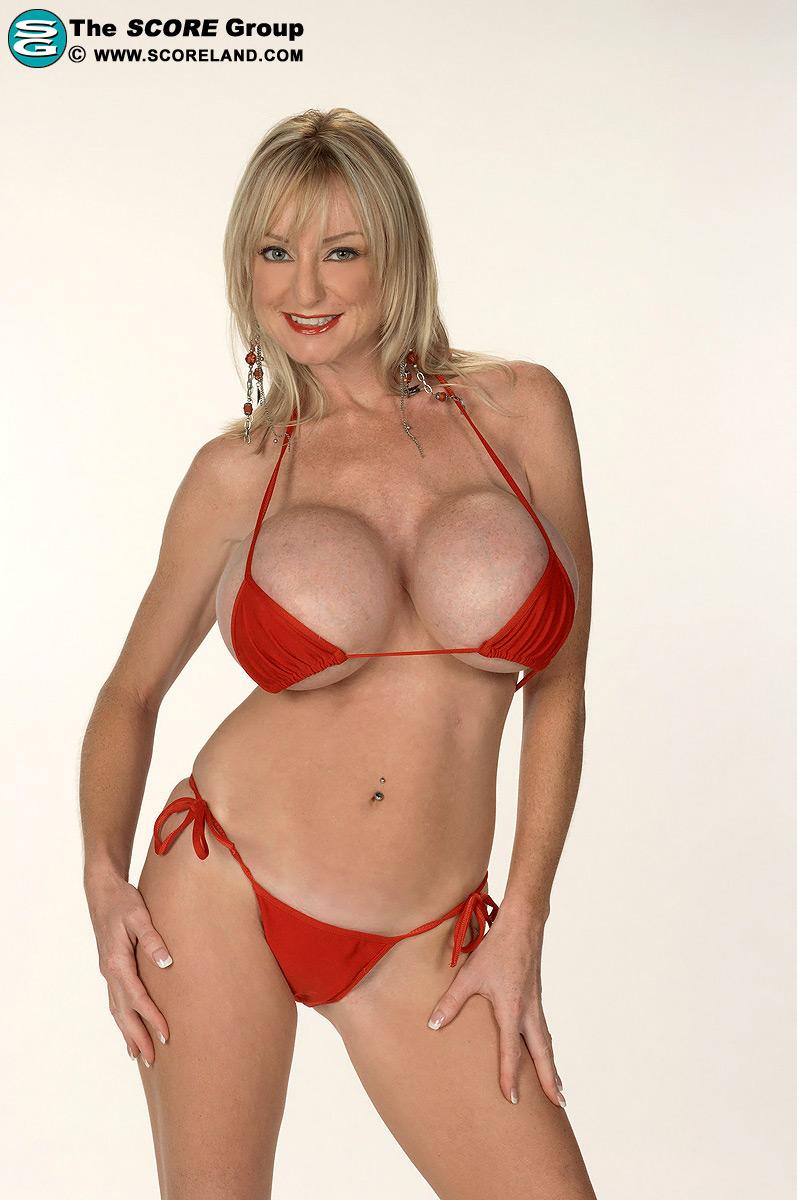 Bikini milf busty blonde