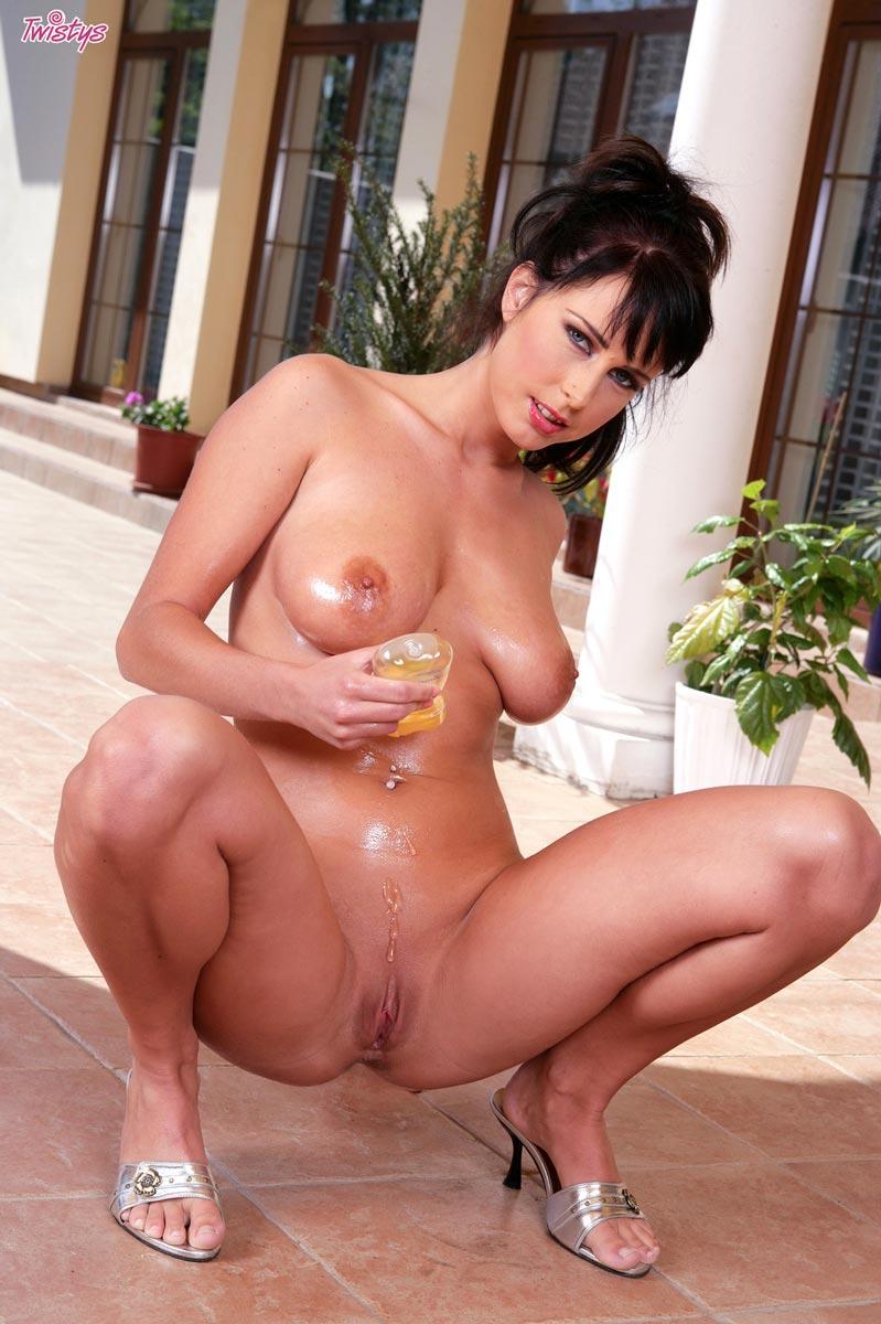 busty oiled brunette
