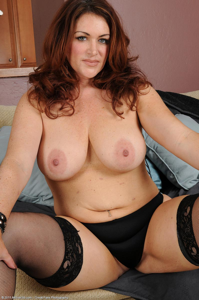 Older Redheaded Housewife Shows Her Pink Shaved Pussy