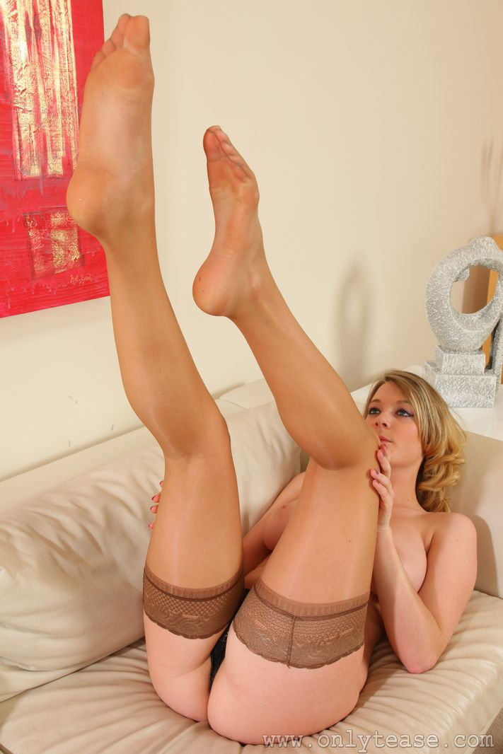 Tan nylons stockings pantyhose