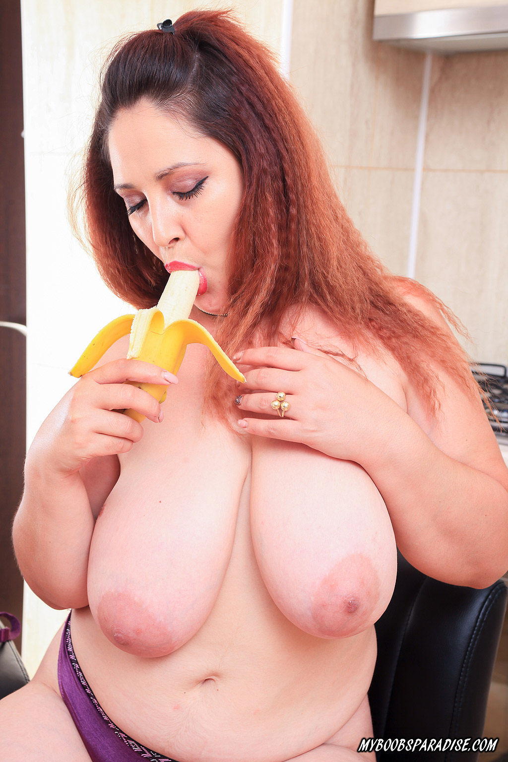 Busty Maria Teasing with a Banana